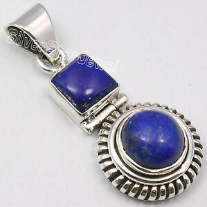 Excellent Quality Natural Lapis Lazuli Peridot Gemstone Pendant Birthday Gift Gemstone Handmade Ethnic 925 Sterling Silver Pendant 5 CM