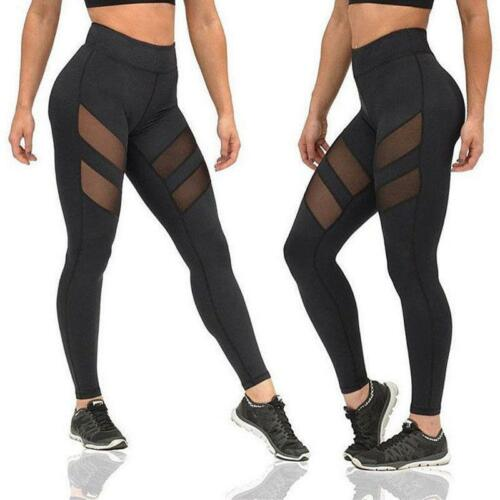 Women Mesh Yoga Sports Running Pants Fitness Gym Workout Leggings Trousers BS