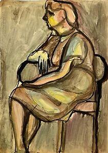 RALPH DUBIN 1919-1988 ABSTRACT MODERNIST FIGURE PORTRAIT PAINTING NEW YORK CITY