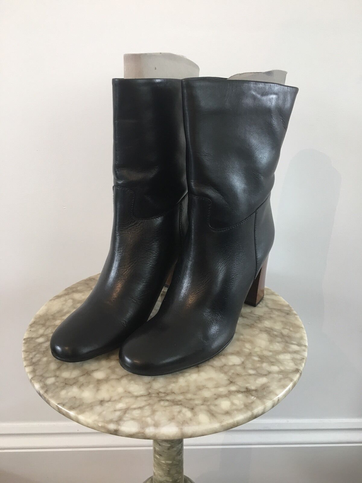 New Kin By John Lewis Roel Womens Black Leather Block Heel Boots Uk 6 Eu 39