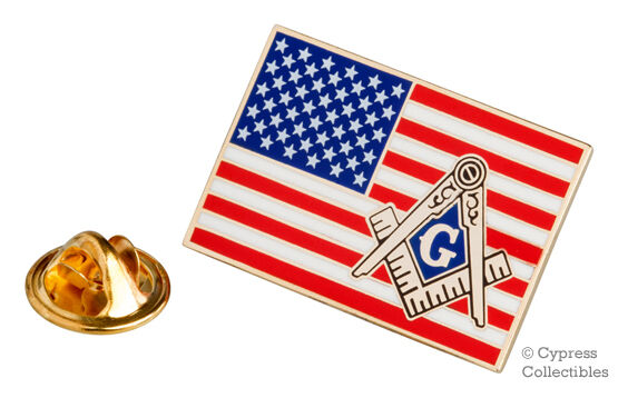 "BRAND NEW Masonic Square /& Compass Flag Blue Enamel Lapel Pin 1/"" Masonry"