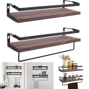 2 Wall Mounted Clothes Rail Bathroom Kitchen Shelf Hanging Wardrobe Display Rack