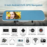 5 Android Gps Navigation Car Dvr Rear View Mirror Front Rear Camera Wifi Us Map