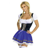 Ladies Sexy Beer Girl Oktoberfest German Bavarian Costume Fancy Dress UK 6-18