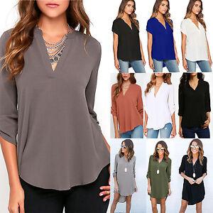 Plus-Size-Womens-V-Neck-Chiffon-Tops-Loose-Casual-T-Shirt-Ladies-Blouse-AU-6-18