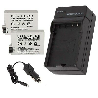 2x LP-E8 Battery + Charger for Canon EOS Rebel T2i T3i T4i T5i Kiss X5 EOS 550D