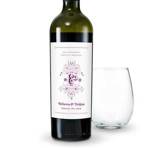 Image Is Loading 24 Fanciful Monogram Personalized Wedding Wine Bottle Labels