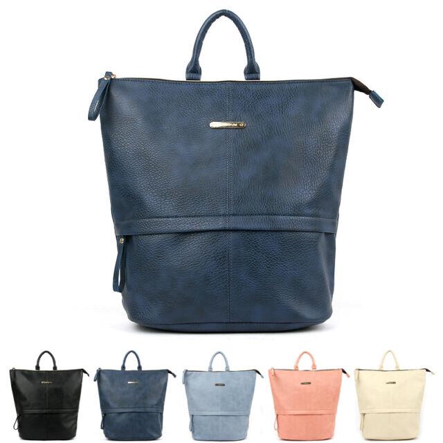 Fashion Womens Faux Leather Travel Satchel Shoulder Backpack School Rucksack Bag