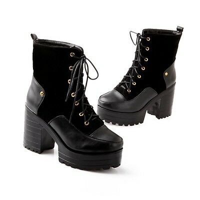 Womens Retro Goth Pumps Chunky High Heels Lace Up Platform Ankle Boots Shoes SZ