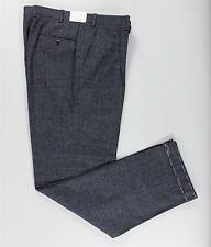 Brioni Charcoal Gray Blue Plaid Single Pleat Wool Dress Pants Trousers 50 IT 34