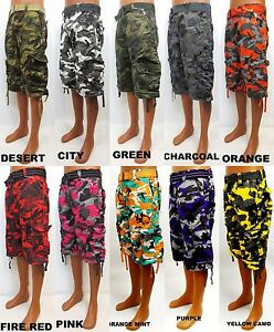 Men's FOCUS cargo camo shorts blue green purple red orange ...