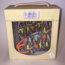 NIP Robeez Mini Shoez Shark Feeding Frenzy Grey Rain Boots Size 3 (6-9 Months)
