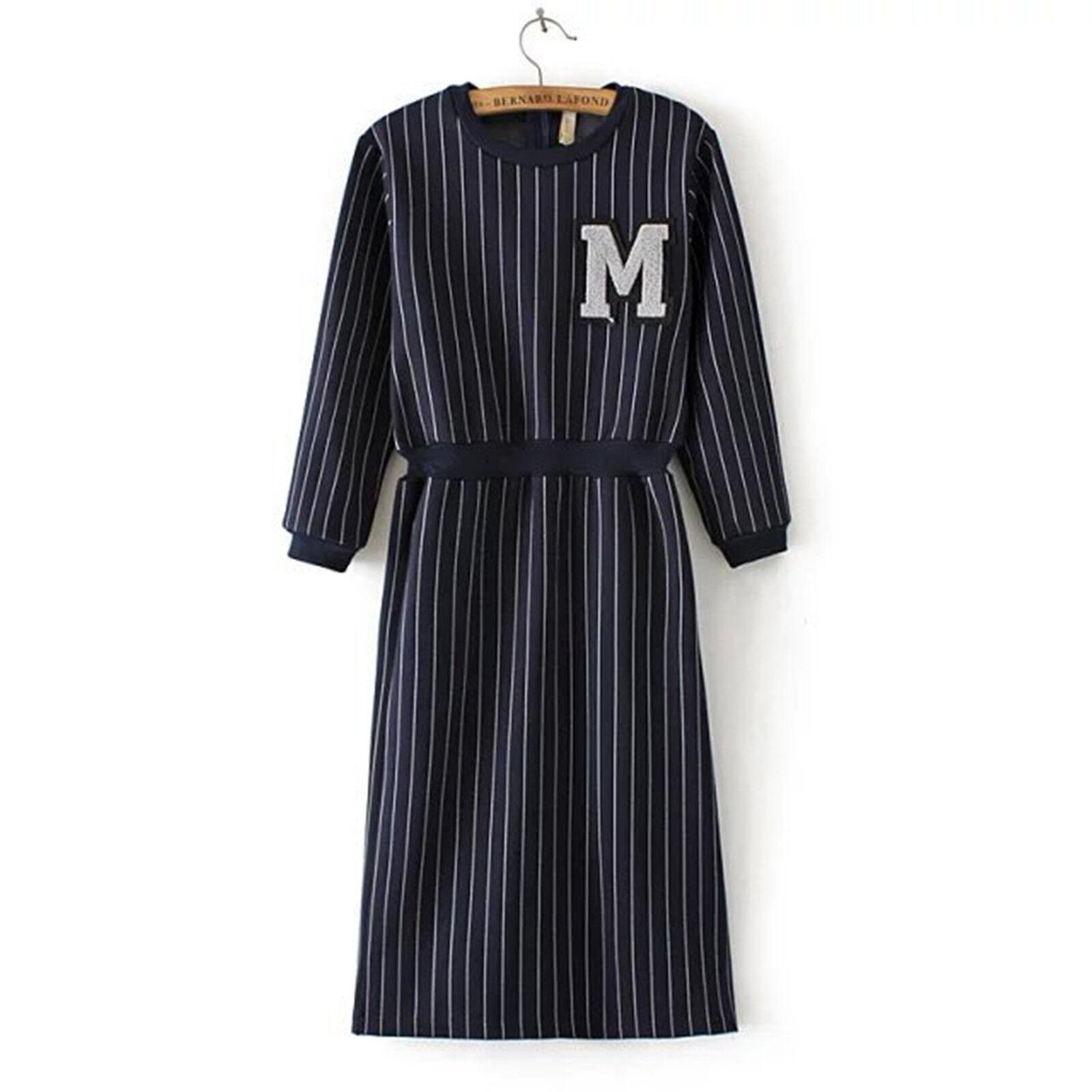 Women Lady Girl Striped M letter long sleeves Navy bluee Tunic Dress AUS 8