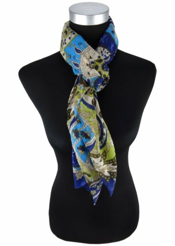 Halstuch in blau türkis braun grau grün Paisley gemustert Gr 100 x 100 cm