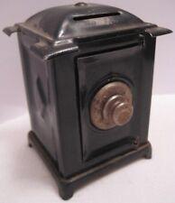 Old Miniature Safe Still Bank - Heavy Tin w/ Cast Iron Tumbler - Dollhouse Prop