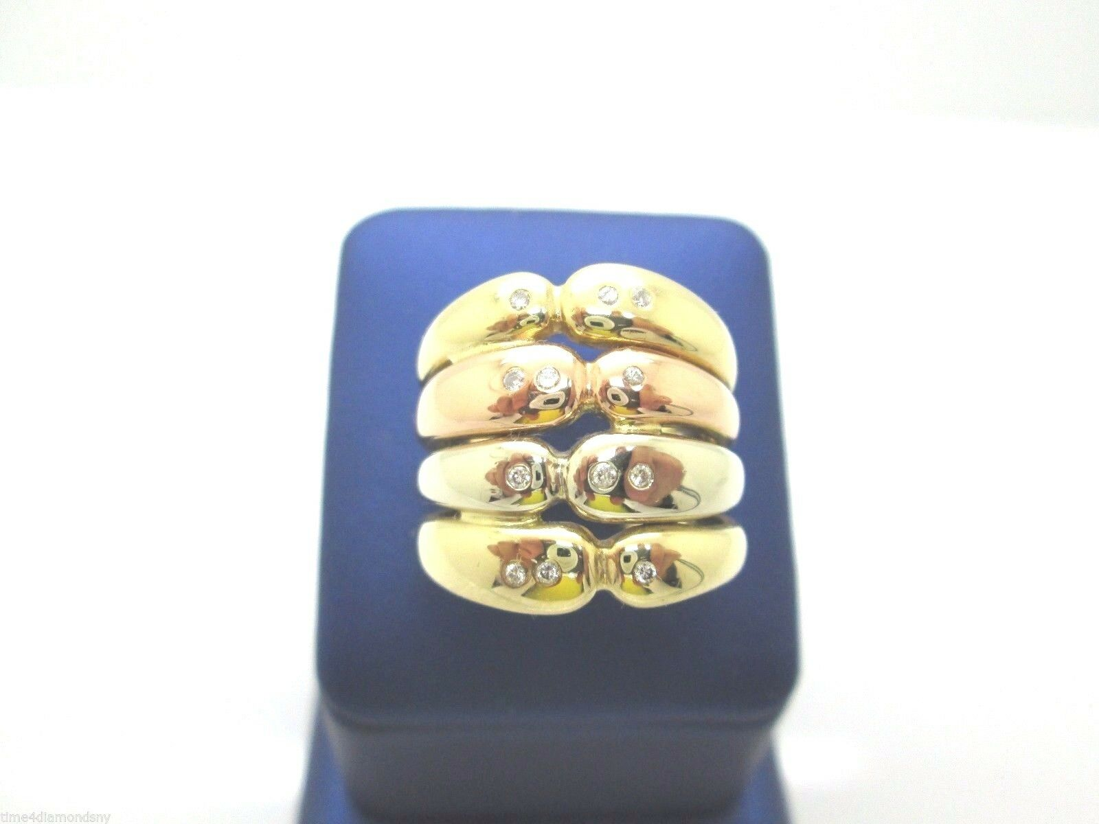 ESTATE 14K SOLID TRI COLOR gold ROUND DIAMOND RING .25CT 10.3 GRAMS SIZE 7.5