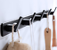 miniature 1 - 3-6Hooks Coat Robe Hat Clothes Hanger Towel Rack Space aluminum Wall Mount Black