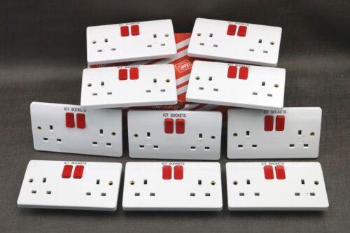 Lot de 1,3,5,10 MK 13 A 2 Gang DP Switched Socket avec Red Rockers K2747D1WHI ne