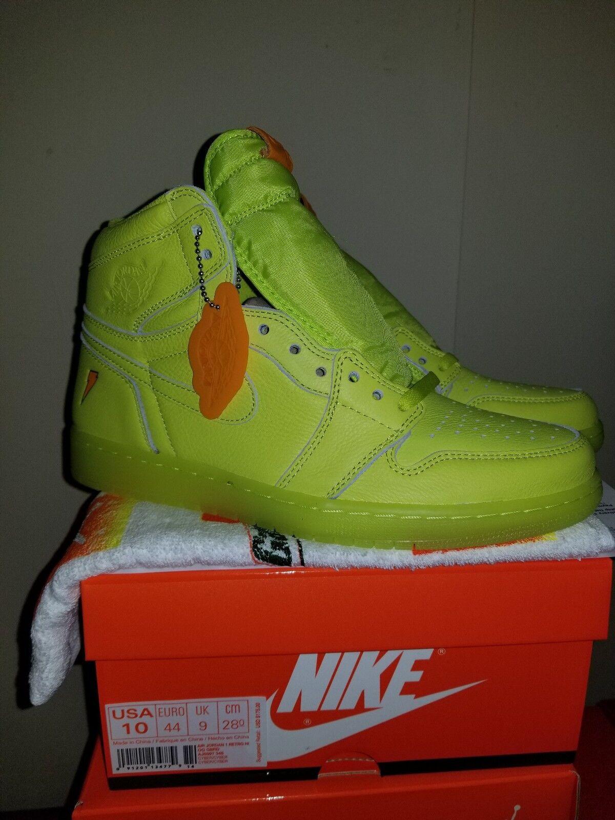 Air Jordan 1 Retro High OG Gatorade Cyber Lemon Lime-size 10
