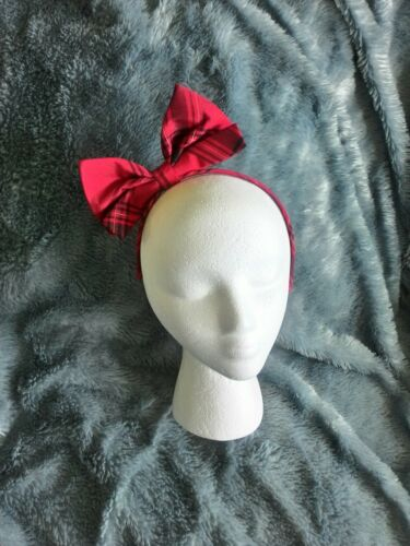 LOVELY RED PLAID WITH LARGE BOW HEADBAND BY GYMBOREE CHILD SIZE-Back-To-School