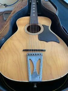 vintage harmony stella acoustic parlor guitar h6128 flat top with case ebay. Black Bedroom Furniture Sets. Home Design Ideas