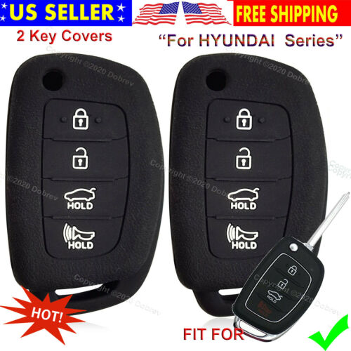 2s Silicone Smart Case Protector Holder Entry Fob Cover For Hyundai Santa Fe Key