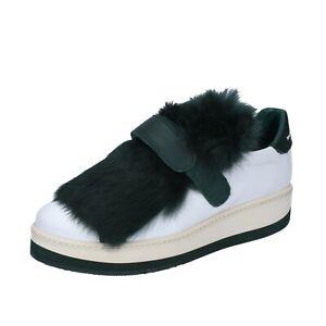 cheap for discount c6876 c1833 Dettagli su scarpe donna MANUEL BARCELO 36 EU sneakers bianco verde pelle  BS331-36