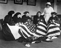 8x10 World War I Photo: Patriotic Elderly Women Making Flags For The War