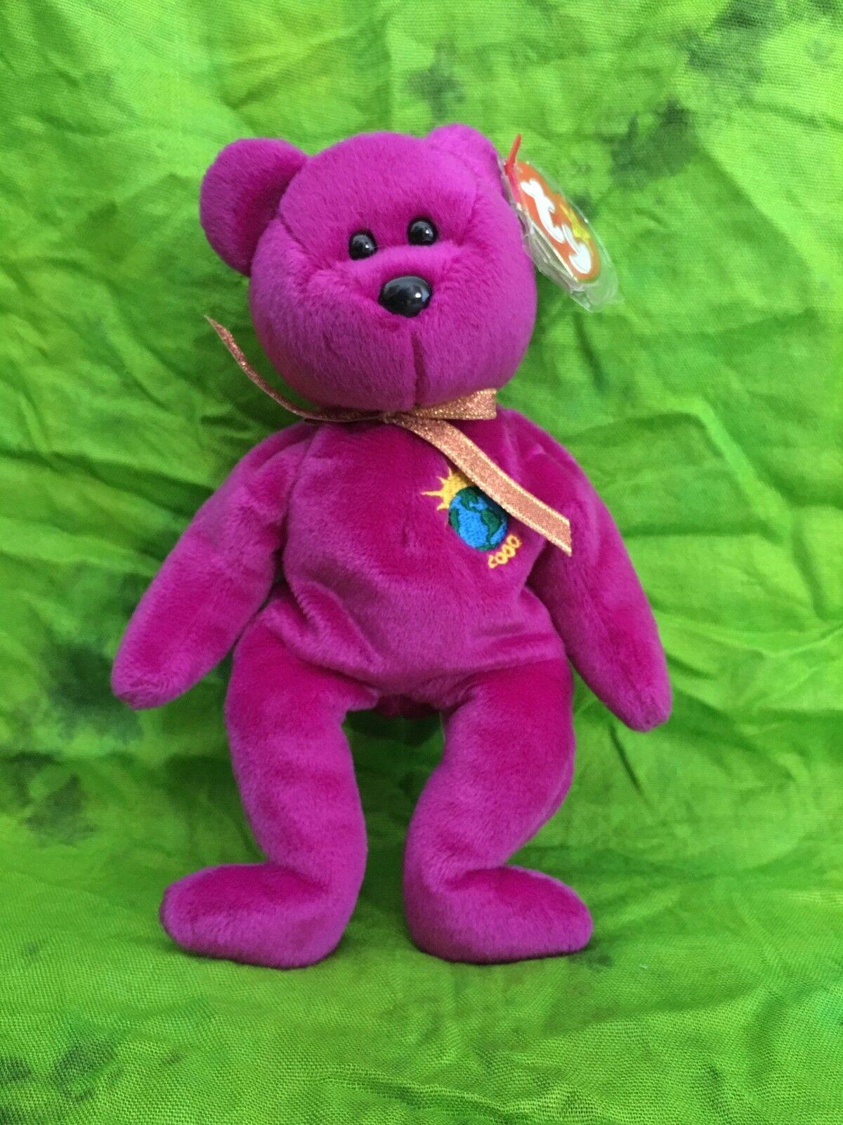 Millenium Bear  with tag errors  RARE – TY Beanie Baby – version 1 Millennium