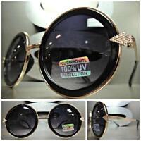 Classic Vintage Retro Style Sun Glasses Unique Round Rose Gold & Black Frame