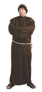 Men-039-s-Plus-Size-Monk-Costume-with-Wig-Brown-Robe-Renaissance-Biblical
