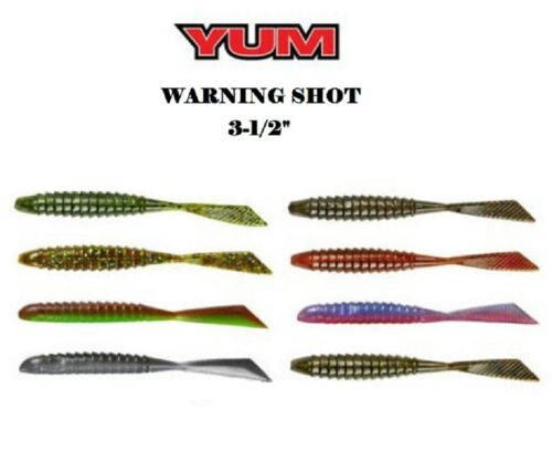 "YUM Warning Shot Drop Shot Worm  3-1//2/"" 10 Per Pack Choice of Colors"