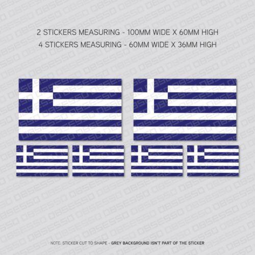 6 X griego Grecia Bandera Calcomanías Pegatinas de vinilo coche furgoneta ventana-SKU5492