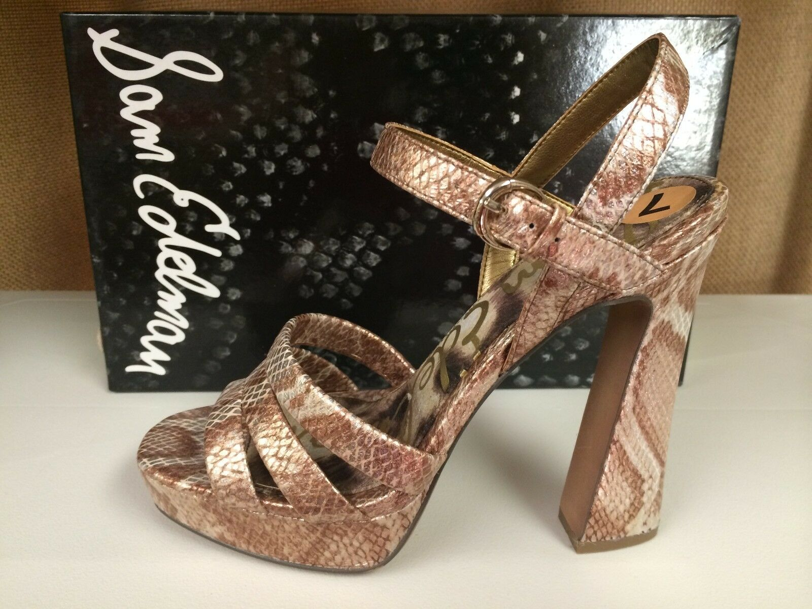 Sam Edelman Taryn Women's Peep Open Toe Sandals Leather Heels shoes Snake Print