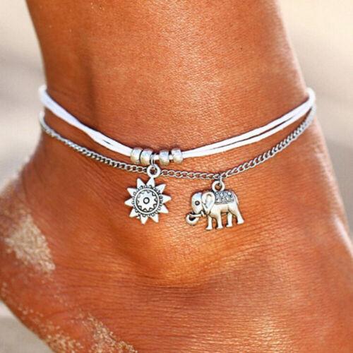 Fußkettchen Fußkette Elefant und Sonne