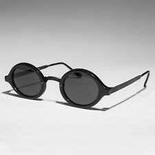 Art Deco Oval Sunglasses with Embossed Metal Temples Black/Gray Lens - Degas