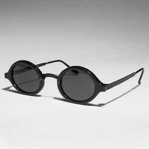 Art-Deco-Oval-Sunglass-with-Embossed-Metal-Temples-Black-Gray-Lens-Degas
