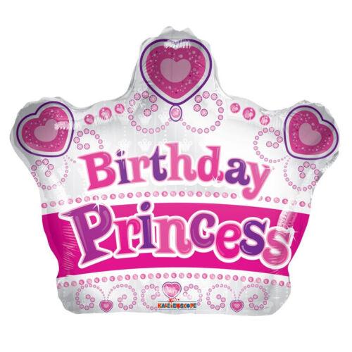 "Happy Birthday Priness Crown Shape 18/"" Foil Balloon Birthday sku 15103-18"