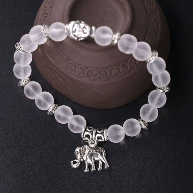 Tibet Silver Natural Elephant Pendant Yoga Jewelry Women Bracelets Transpa