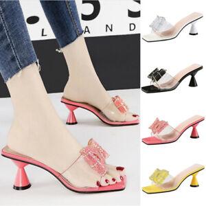 Summer-Women-Sequin-Bowknot-Perspex-Sandals-Cone-Heel-Peep-Toe-Shoes-Comfy-Mules