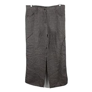 Brax-Linen-Pants-Womens-16-Brown-Striped-Wide-Leg-Pockets