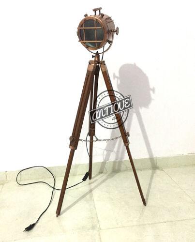 Industrial Marine Vintage Floor Lamp Stand Copper Finish Corner Brown Tripod LED