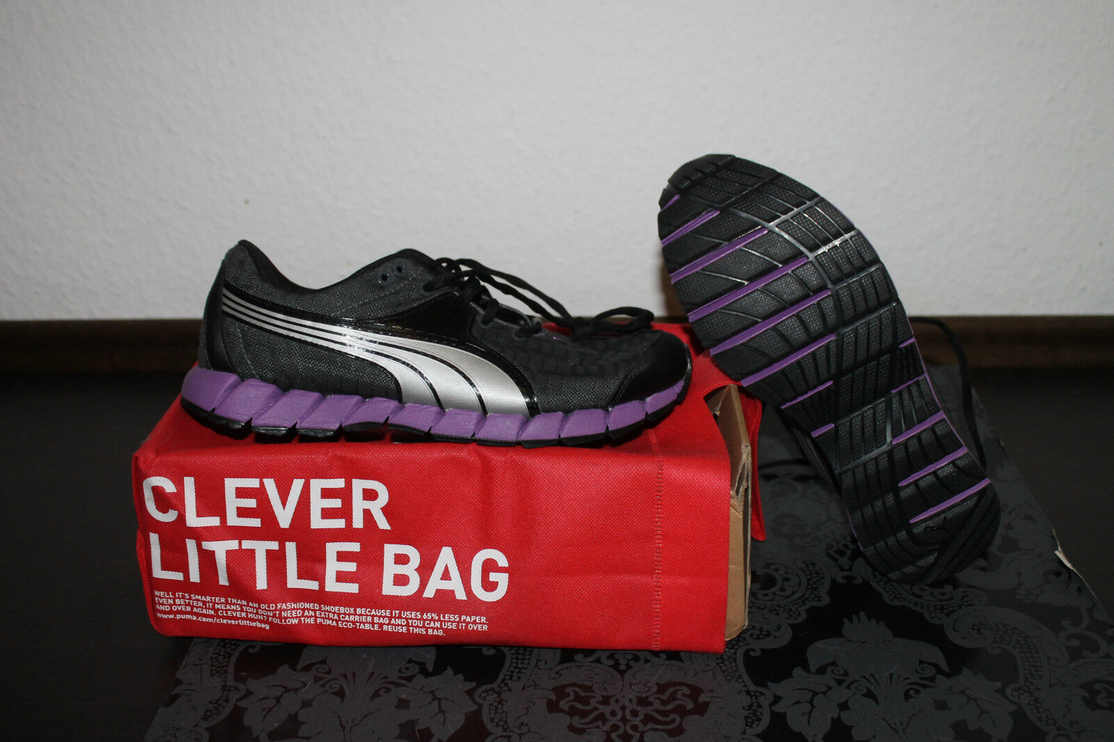Puma Osuran Damen Running Lauf Schuh Schwarz Lila Größe 40,5; US 9,5 UK 7 Neu