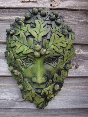 """Acorn Green Man Placca Decorativa muro di pietra pagane Home Decorazione Giardino 36cm//14/"""""""