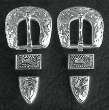 """2 - 1/2"""" Hand Engraved Silver Plated Buckle Sets - Spur Straps Headstall      #5"""