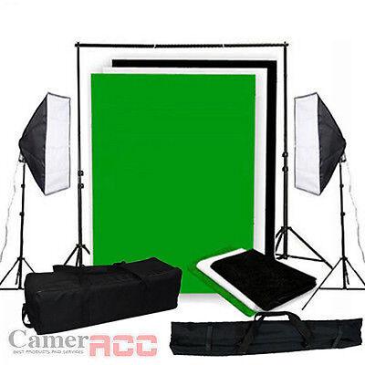 1250W Fotostudio Studioleuchte Softbox + 3x1,6M Hintergrundsystem Studioset
