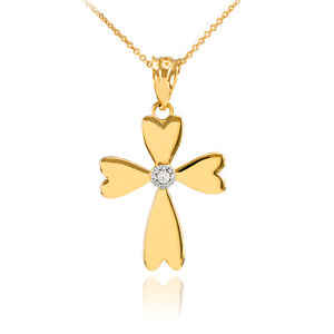 14k White Gold Solitaire Diamond Heart Cross Charm Pendant Necklace