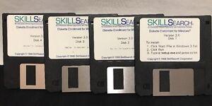 1988-Skillsearch-4-Floppy-Disk-Set-Windows-Skill-Search-Software-Vintage-Program