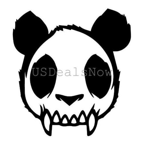 """1x Skull Zombie Panda Evil Mad Dead Goth Vinyl Decal Car Sticker 4.63/""""x5/"""" Black"""