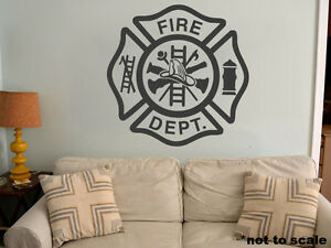Fire Department Interior Wall Sticker Decal Vinyl Decor Man Cave